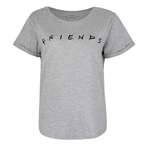 Friends Titles Camiseta, Gris, L para Mujer